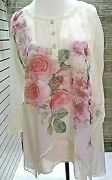 Pretty Angel Women Sheer Floral Blouse Top 3/4 Sleeve Boutique Nwt S M Lgxl