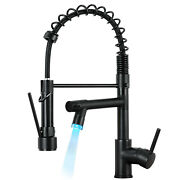 Black Kitchen Sink Faucet Pull Down Swivel Spout Single Hole With Led Mixer Tap