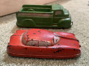 """2 Vintage Auburn Rubber Corp Green Toy 6"""" Truck 🚚 And Futuristic 5"""" Red Sedan Car"""
