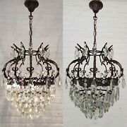 Matching Pair Of Antique Vintage Brass And Crystals Crown Chandeliers Lamp Rare