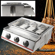 3 Burner Portable Stainless Steel Bbq Table Top Gas Grill Outdoor Cover Usa