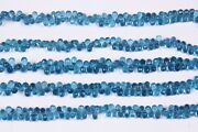 Swiss Colour Blue Topaz Hydro Faceted Side Drill Teardrop Beads 9 Inch Length