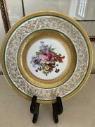 Bavaria Gold Encrusted Green Floral Dinner Plate From Ovington's Ny