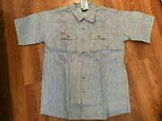 Prsn Blu Prison Blue Menand039s Hickory Short Sleeve Button Front Shirt Size S Nwt