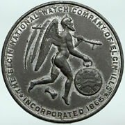 1874 Usa Illinois Elgin Watch Co Grim Reaper Father Time Old Token Medal Scarce