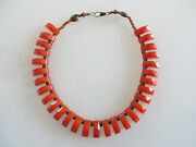 Bakelite, Rare, Collectible Vintage Elongated Beads And Brass Bead Necklace