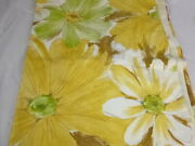 Vtg Cannon Royal Family Twin Flat Sheet Big Flowers Green And Gold 50/50 Percale