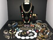Huge Vintage To New Costume Jewelry Lot Signed Items Rings Earrings Brooch A+