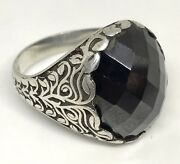 Luxury Gift Vintage Men Ring Old Sterling Silver 925 Black Onxy Stone Used Sz 11