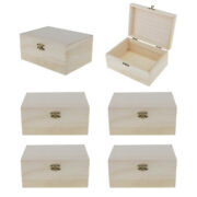 6pcs Unfinished Wooden Jewelry Case Plain Wood Box Diy Crafts Gifts Kids