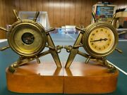 Vintage Plymouth/selsi - 8-day Shipand039s Wheel And Anchor Clock And Barometer Set-brass