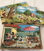 Vintage Garnier/ Disney Mickey Mouse Wooden Cube Toy Puzzle Game Blocks 1950s