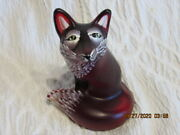 Fenton Art Glass 2009 Ruby Satin Glass With Hand Painted Decoration-d. Fredrick
