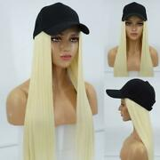 New Baseball Cap Hat With Hair Long Natural Straight Blonde Wigs Caps For Gift