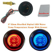 2 52mm Blue/red Digital Led Water Temp Temperature Gauge With Sensor Car Auto