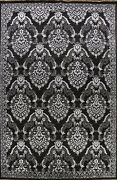 Black/ Silver Art And Craft Elegant Floral Area Rug Hand-knotted Wool/ Silk 9x12