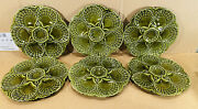 6 Vintage French Green Majolica Oyster Plates Scallop Shell Sarreguemines 9 1/4