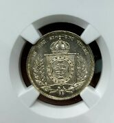 1867 Brazil 200r Wreath Type Silver Coin Ngc Ms66+