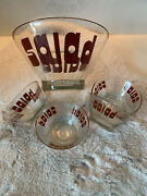 Vintage Wheaton Large Glass Salad Bowl And 4 Small Bowls, Red Letters, Rare