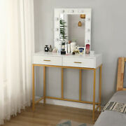 Hot Lighted Vanity Table Home Makeup Dressing Desk Stool Set W/mirror And Drawers