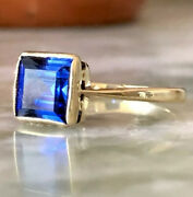 Antique Art Deco Ring 18ct Gold Synthetic Sapphire Size J1/2