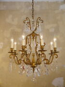 Italy Art Deco Crystal Brass Gold Chandelier Ceiling Lamp Home Decor Living Room