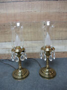 2 - Vintage Brass Accent/dresser Lamps With Prisms