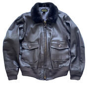 Buaer G-1 Flight Brown Leather Bomber Jacket - Willis And Geiger - Men's Size 44