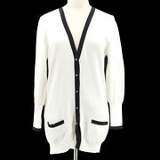 96p 46 Cc Logos Button Front Opening Long Sleeve Cardigan White Y04446b