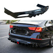 Fit For Honda Accord 18-20 Gloss Black Rear Bumper Diffuser Spoiler With Lights
