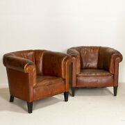 Pair Small Scale Vintage Leather Club Chairs From England