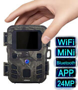 Mini Wifi Bluetooth Trail Camera 24mp Hunting Game Wildlife Outdoor Night Vision