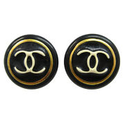Cc Button Motif Earrings Gold Black Clip-on 97a Accessories 10470