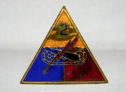 Ww2 Original Us Army 2nd Armored Division Pin - Made By Gemsco Ny