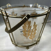 Mid Century Modern G. Reeves Ice Bucket Gold Leaves Foliage Frosted Glass