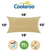 New Coolaroo Ultra Commercial Grade Shade Sail 10and039 X 18and039 Rectangle Tan / Beech