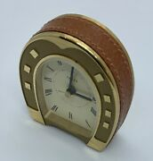 Vintage Leather/brass Horse Shoe Alarm Clock Ultra Rare Minty W/pouch