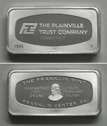 Fm7 Franklin Mint Solid Sterling Silver Ingot The Plainville Trust Company Ct