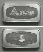 Fm10 Franklin Mint Solid Sterling Silver Ingot Peoples Bank And Trust Macon Ga