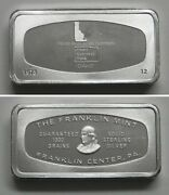 Fm12 Franklin Mint Solid Sterling Silver Ingot First National Bank Idaho Id