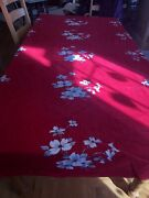 Vintage Wilendur Red Dogwood Table Cloth 98 X 62 Rectangle Dining