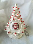 Ceramic Christmastree From Vintage Mold White Pearl With Fire Dept Decal Usa..