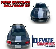 18-21 Fits Ford Mustang Rally Beast Graphics Vinyl Stripes Hood Decals Stickers