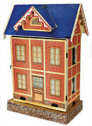 Antique German Paper Litho 2 Room Blue Roof Doll House