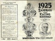 1925 Baseball And Racing Schedule Ny Yankees Giants And Brooklyn Robins Dodgers