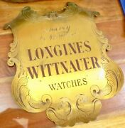.vintage Longines Wittnauer Watches Agency Ornate Engraved Brass Large Sign