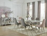 Cool Contemporary Glass Chrome Dining Table Pink Grey Chairs Furniture Set