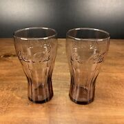 Vintage Coca Cola Drinking Glasses Embossed Set Of 2 Amber Colored.