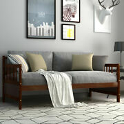 Twin Size Wooden Slats Daybed Bed Sofa Support Platform Sturdy W/rails Espresso