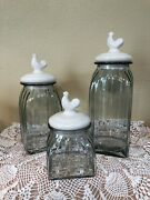 Kitchen Canisters 3 Pc. Porcelain Rooster Tops And Glass Containers. Silicone Seal